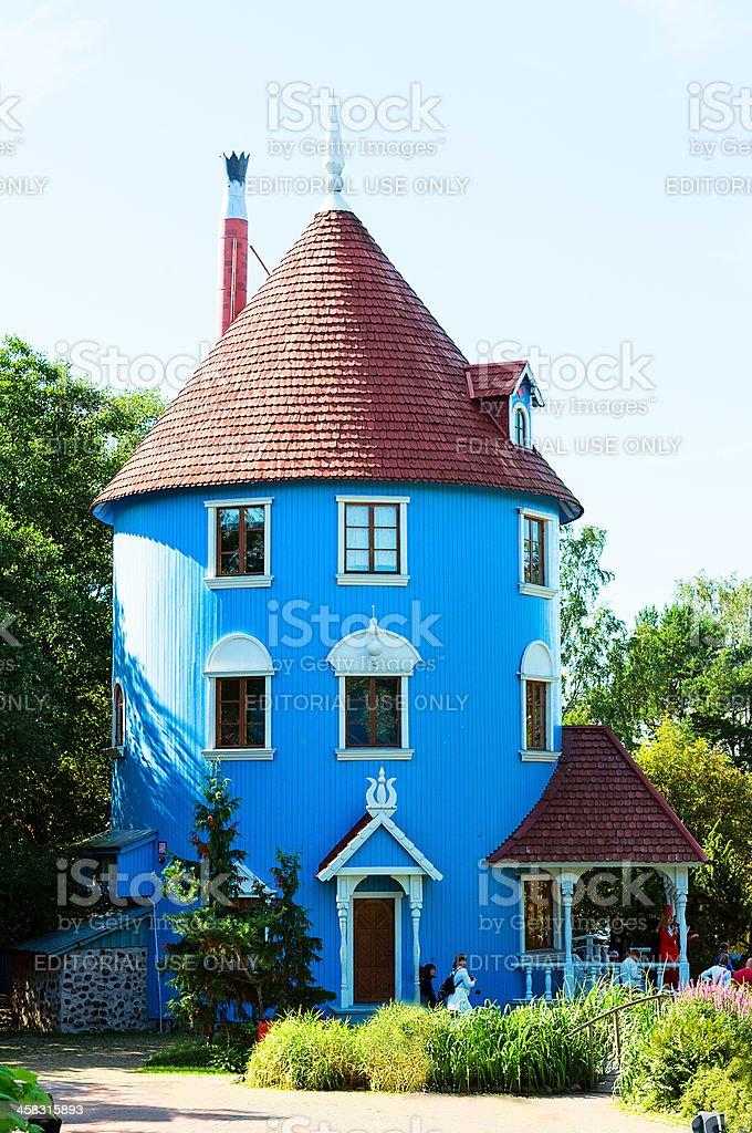 Moomi house in Moominworld.Finland stock photo