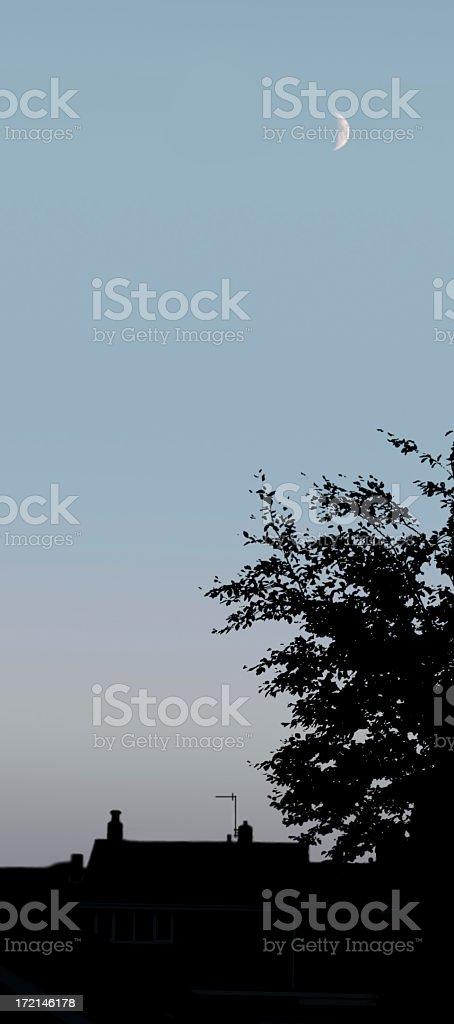 Moon above Urban Skyline stock photo