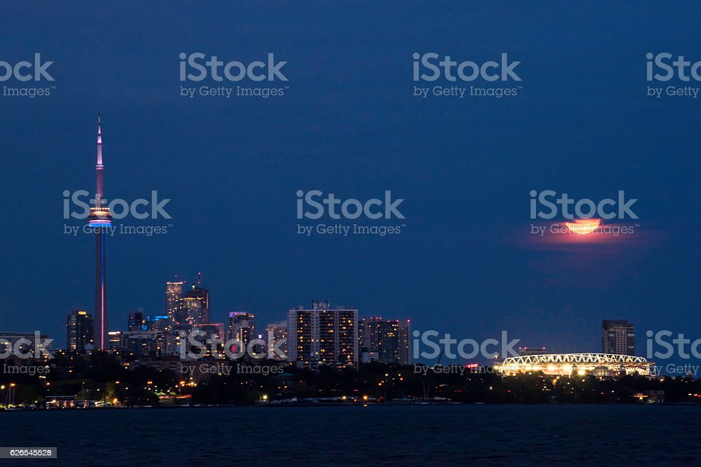 Moon and CN tower stock photo