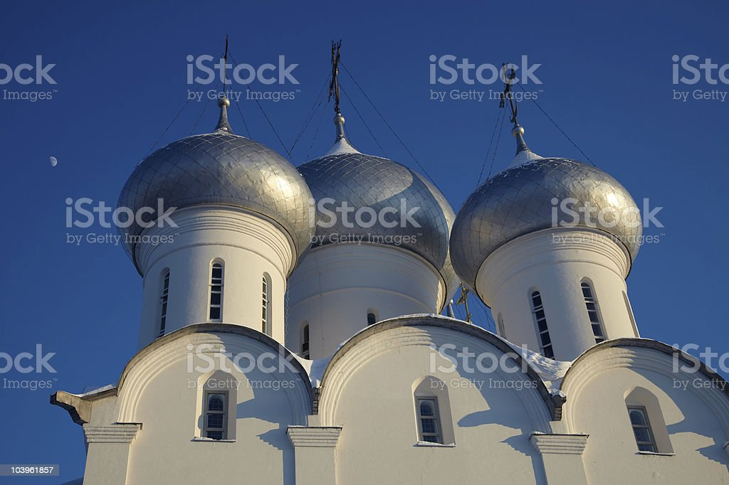 Moon and cupola of Sophia cathedral in Vologda Kremlin, Russia royalty-free stock photo