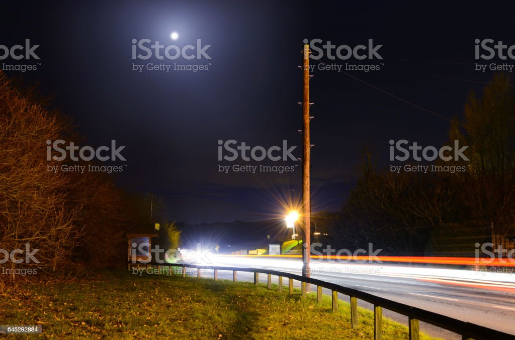 Moon and Light Trails stock photo