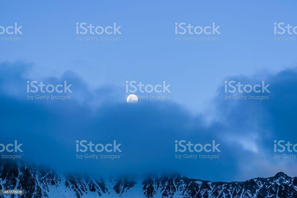 Moon and Mountain stock photo