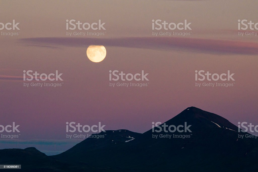 Moon and mountains stock photo