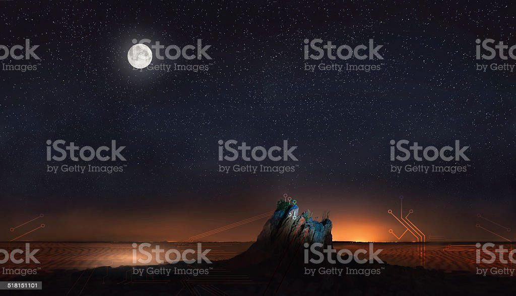 moon and stars in desert with abstract lines stock photo