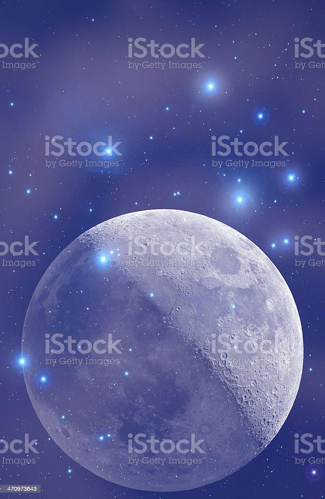 Moon and Stars royalty-free stock photo