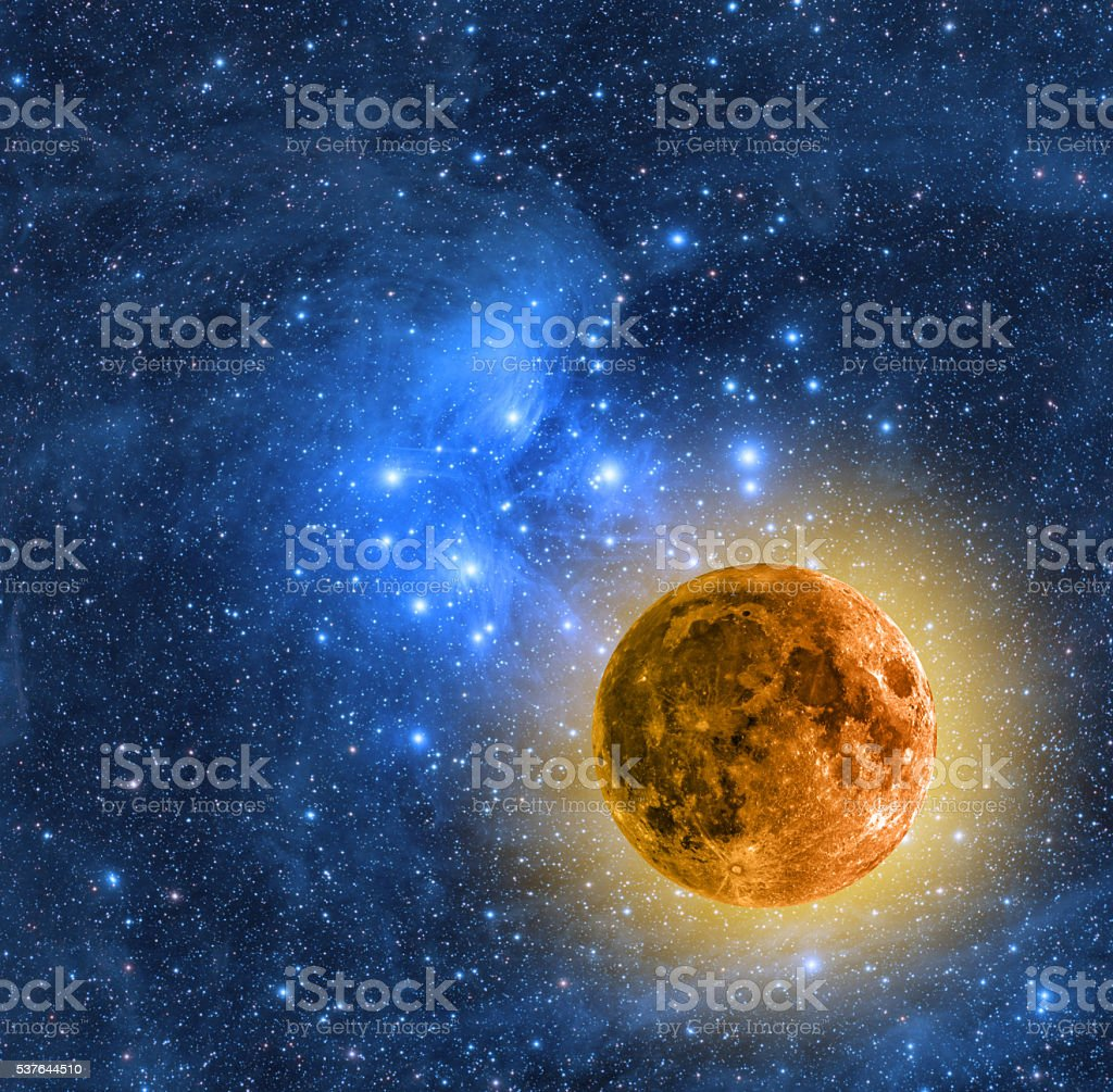 Moon and Stars stock photo