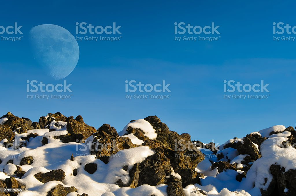 Moon at Craters of the Moon stock photo