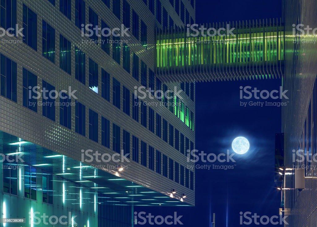 Moon at night city stock photo