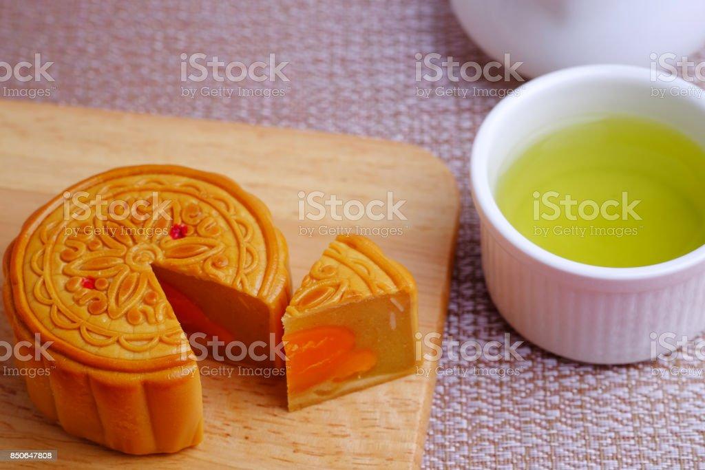 Moon cake and green tea. stock photo