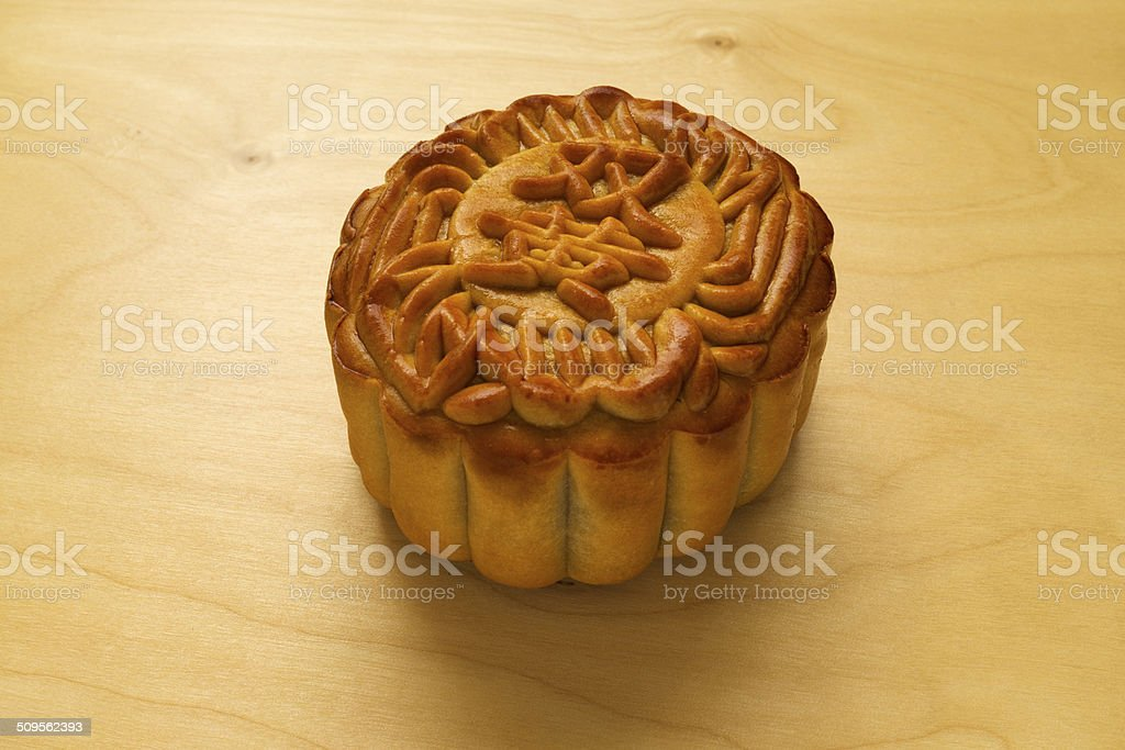 Moon Cake on wood table stock photo