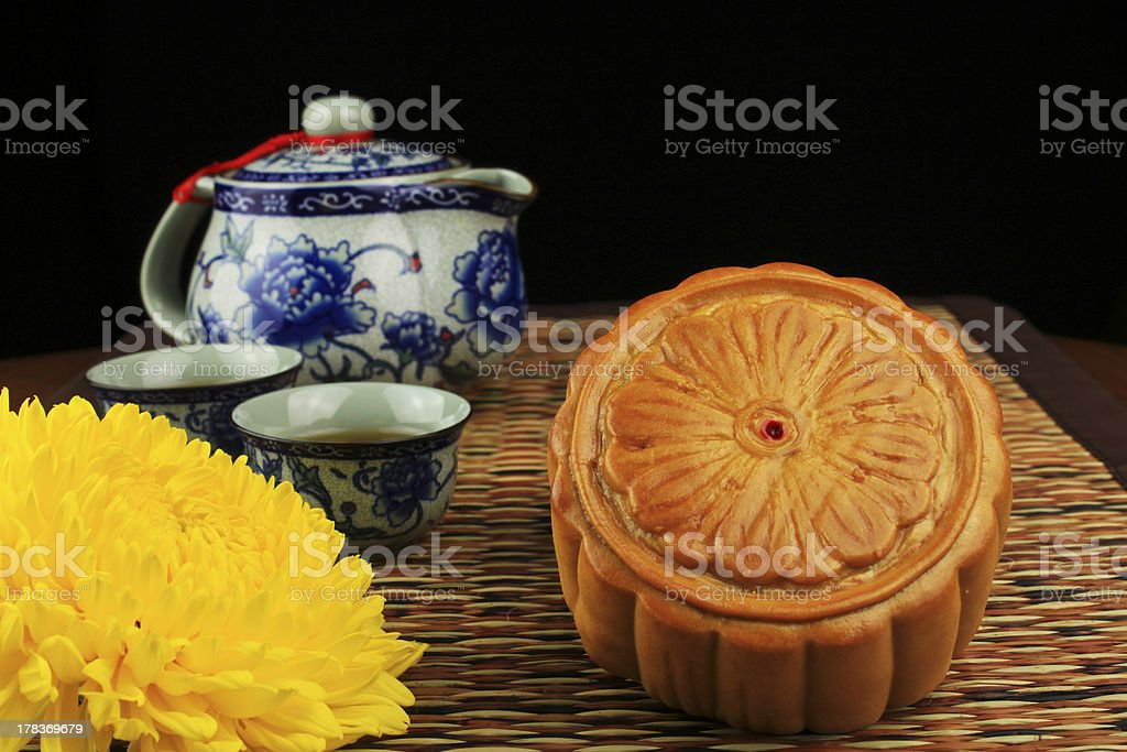 Moon cakes and tea on the mat stock photo