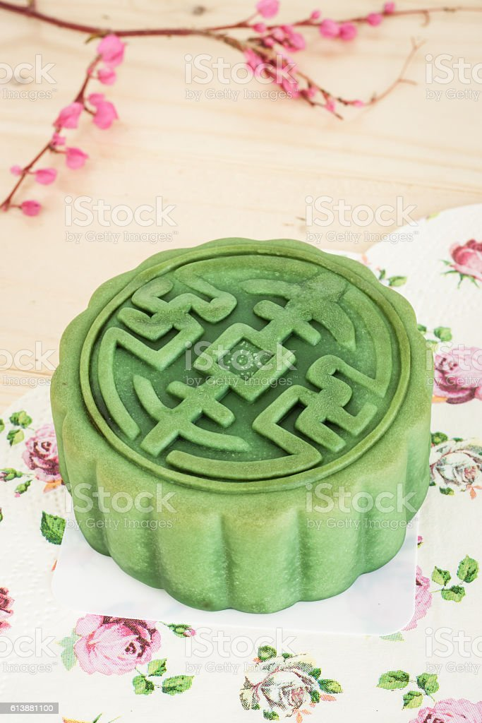 moon cakes green tea stock photo
