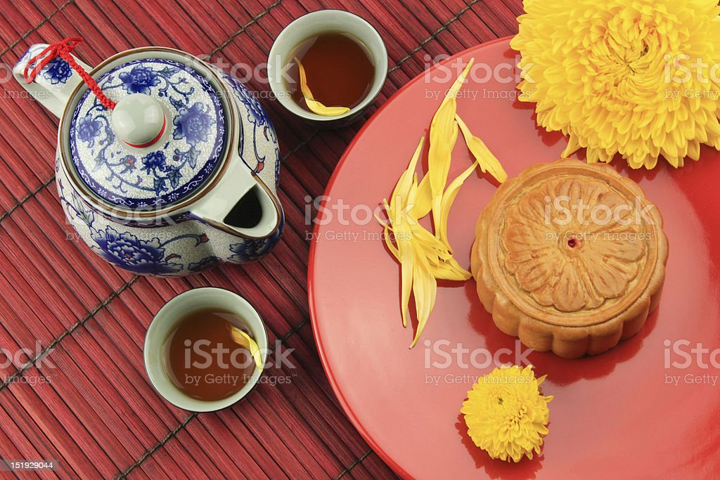 Moon cakes on red dish stock photo