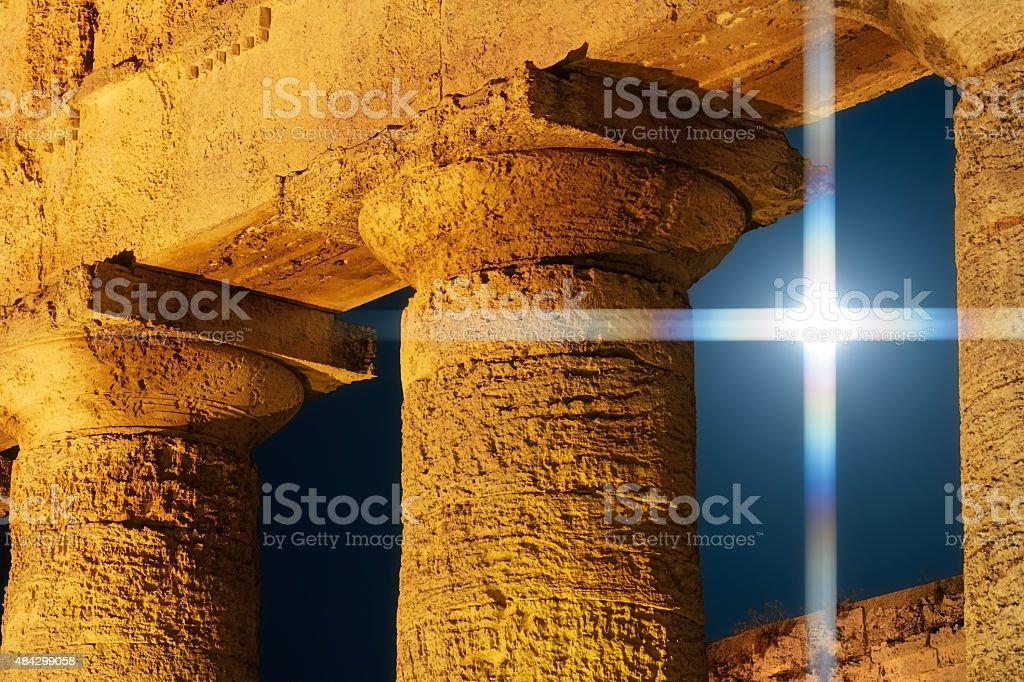 Moon Cross Among The Columns of Segesta Temple stock photo