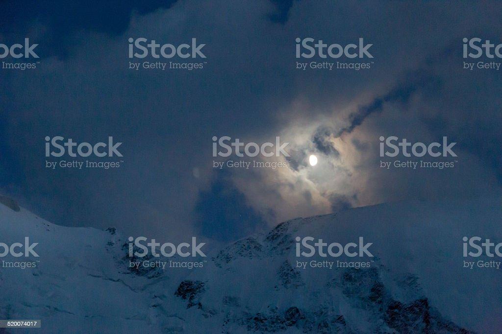 Moon during dusk, Mont Blanc, Chamonix stock photo