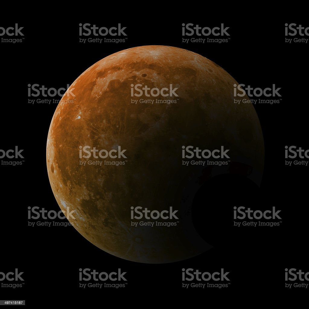 Moon Eclipse - Isolated on Black stock photo