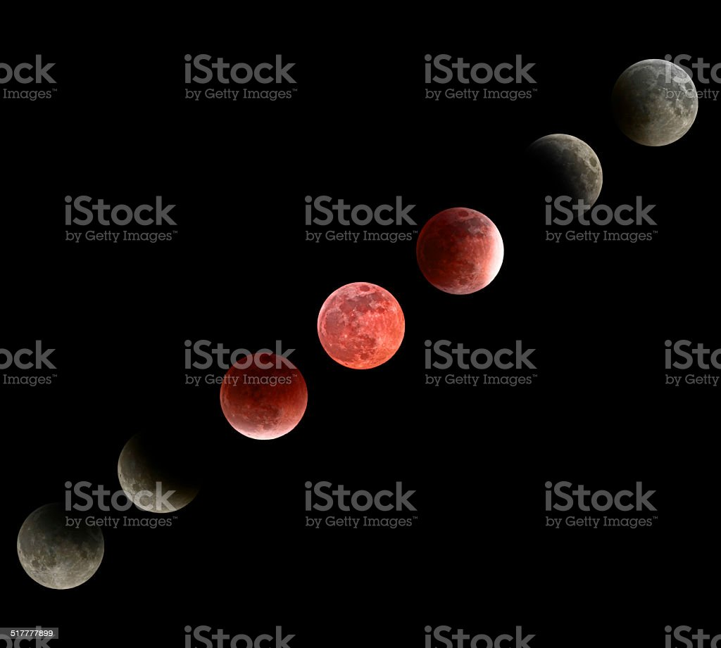 Moon Eclipse Phases Mosaic - Isolated on Black stock photo