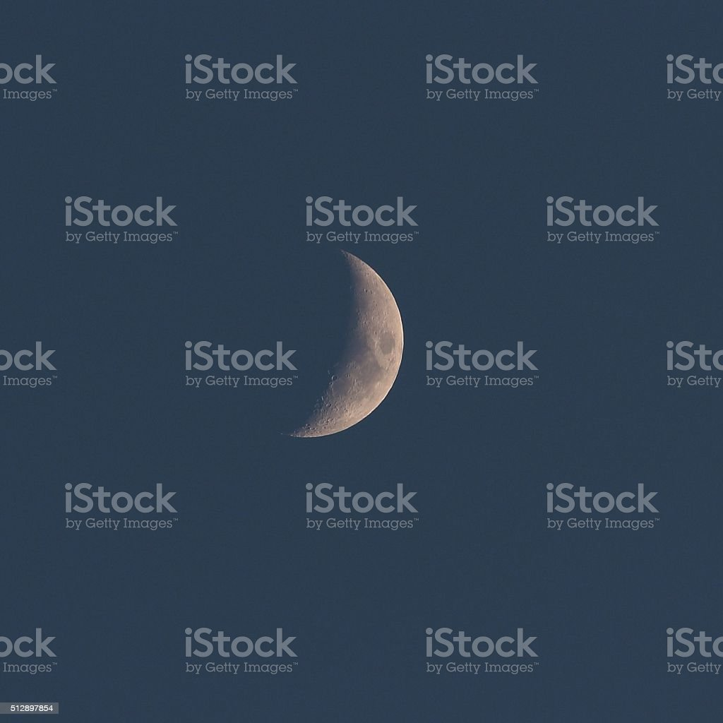 Moon first quarter 13 February stock photo