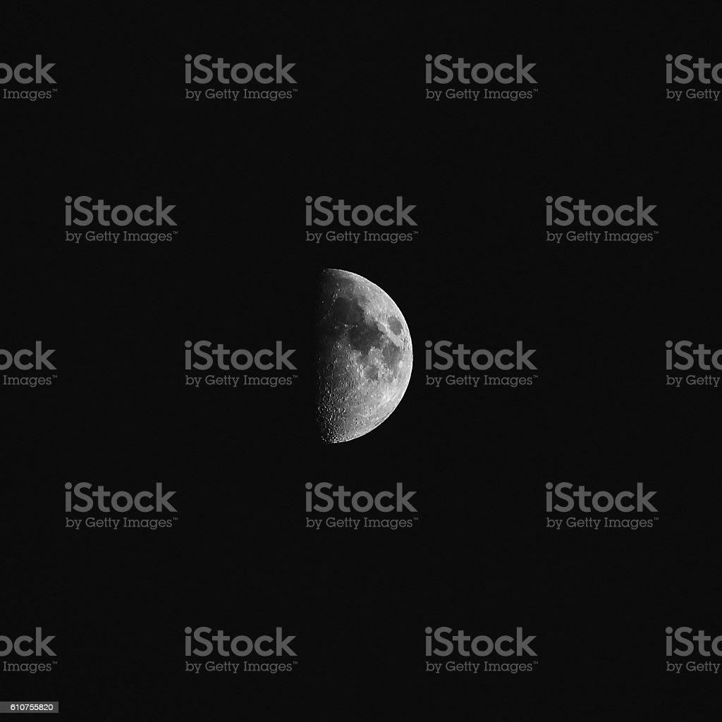 Moon first quarter summer 2016 stock photo