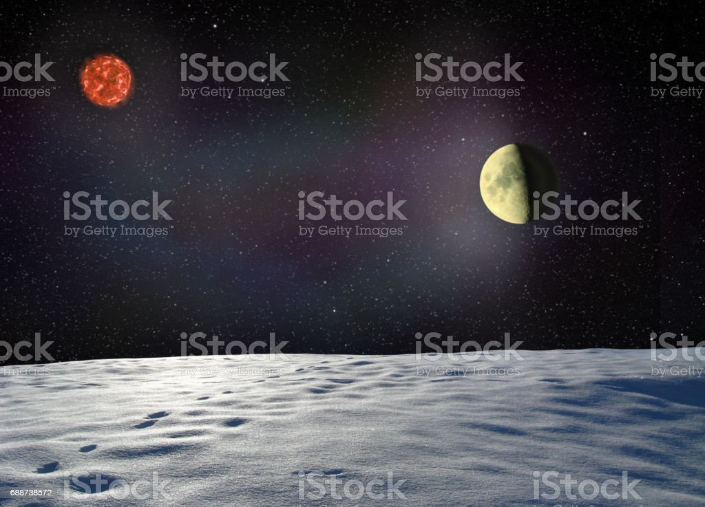 Moon glows the surface of unknown planet stock photo