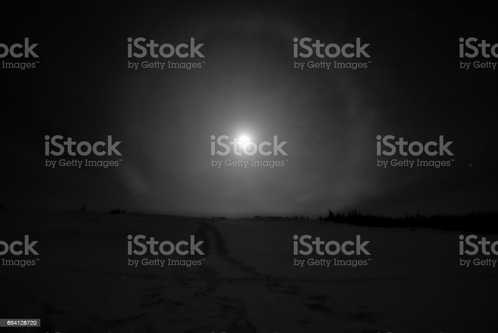 Moon Halo stock photo