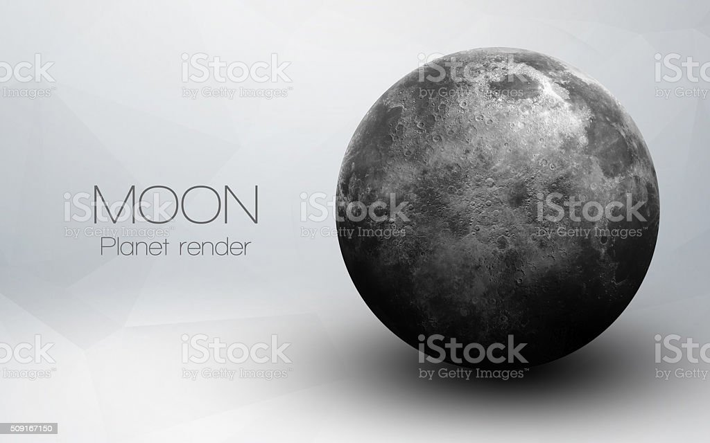 Moon - High resolution 3D images presents planets of the stock photo