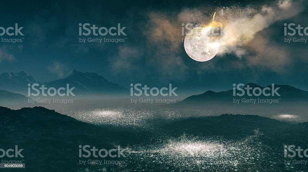 Moon hit by an asteroid stock photo