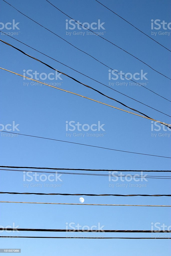Moon in a Wired World royalty-free stock photo