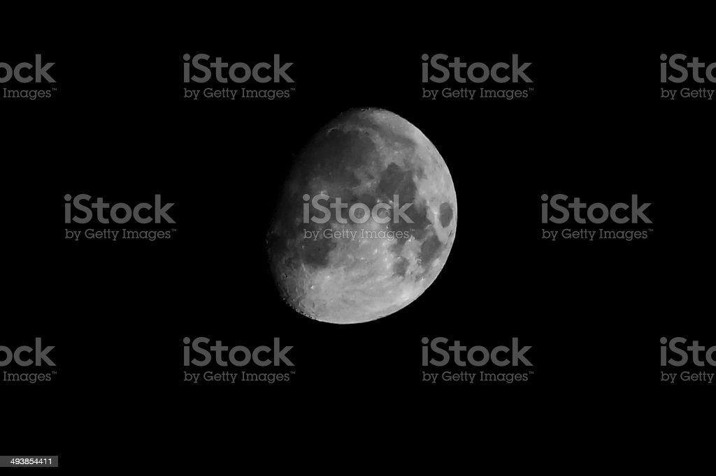 Moon in Black sky, no stars stock photo