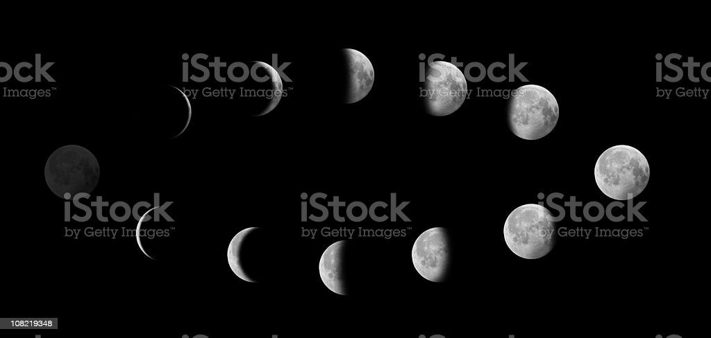 Moon in Different Phases Against Black Sky stock photo