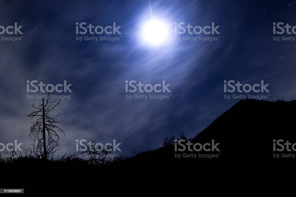 moon in th mountains stock photo