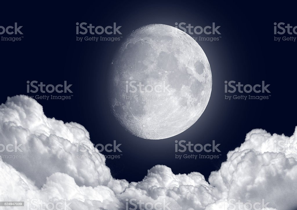 moon in the night stock photo