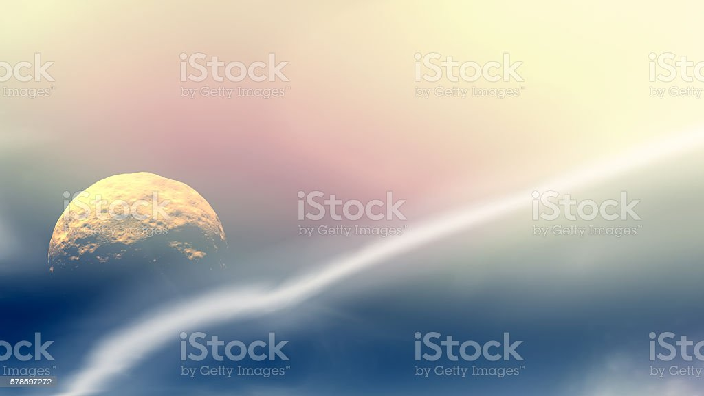 Moon is in space. 3D rendering stock photo
