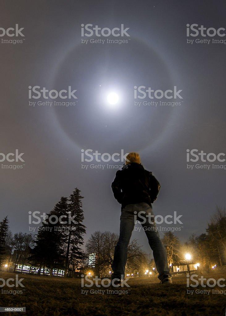 Moon, Jupiter and a circular lunar halo royalty-free stock photo