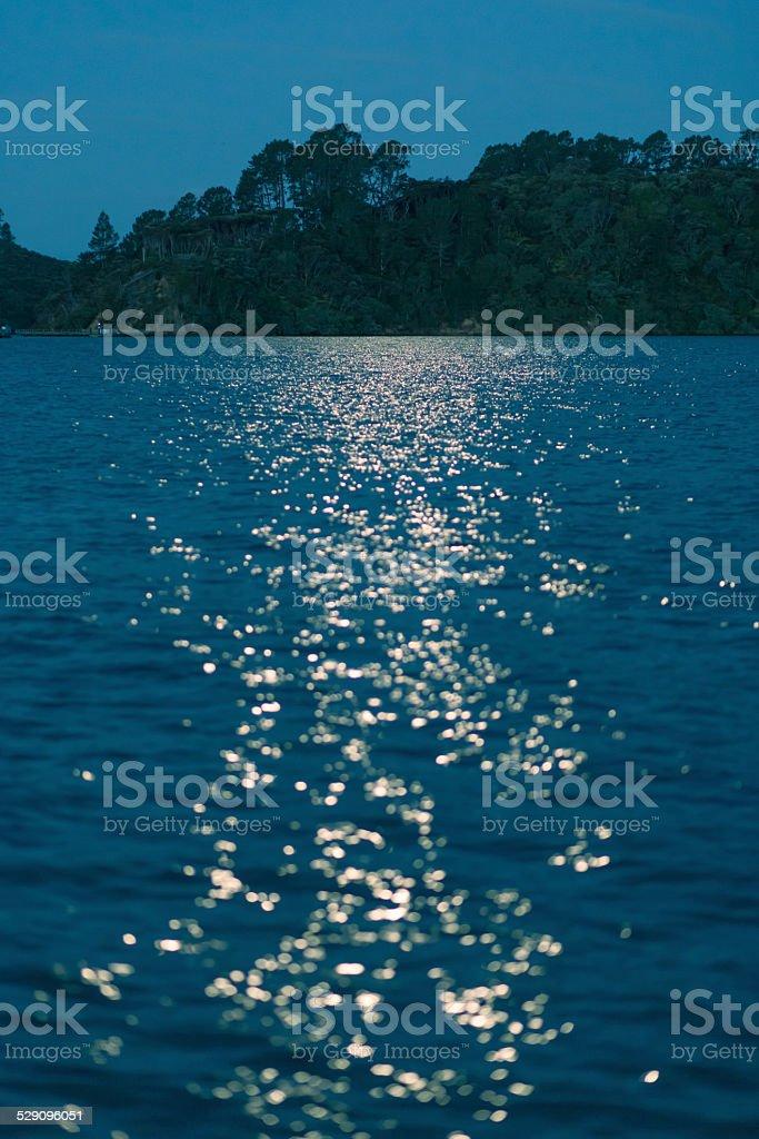 Moon light over darkwater stock photo