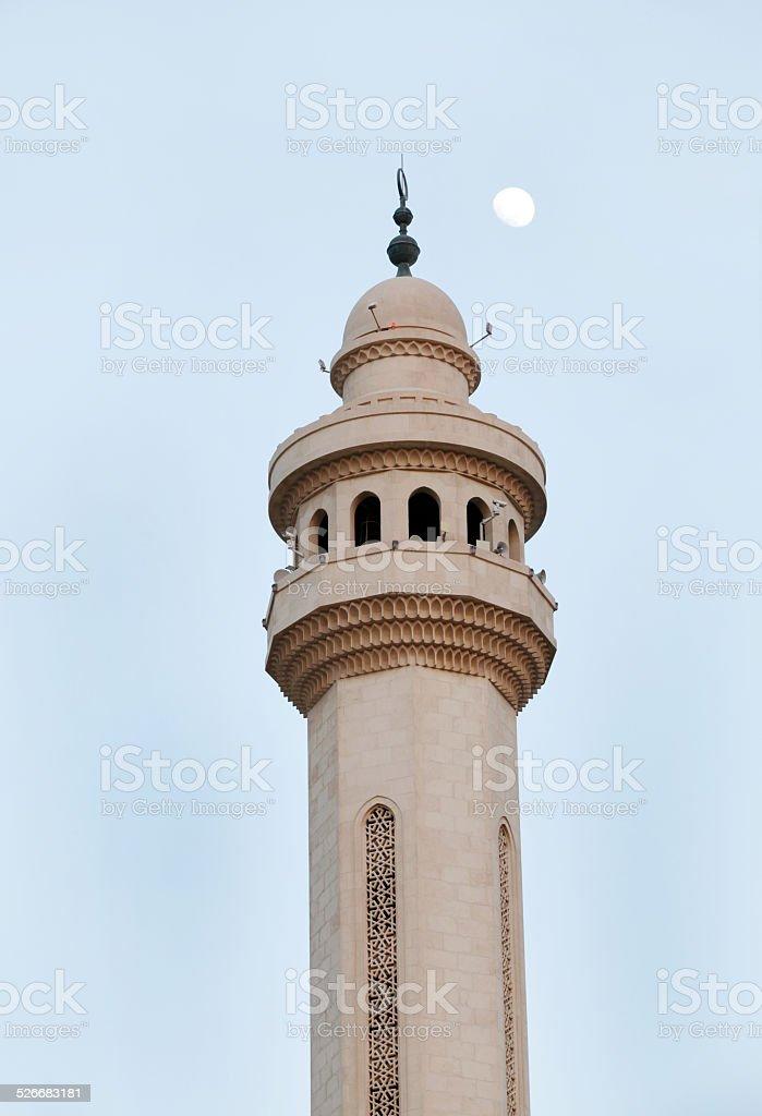 Moon &  minaret of  Al Fateh Mosque Bahrain stock photo