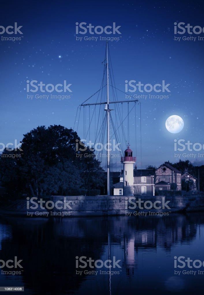 Moon night in port stock photo