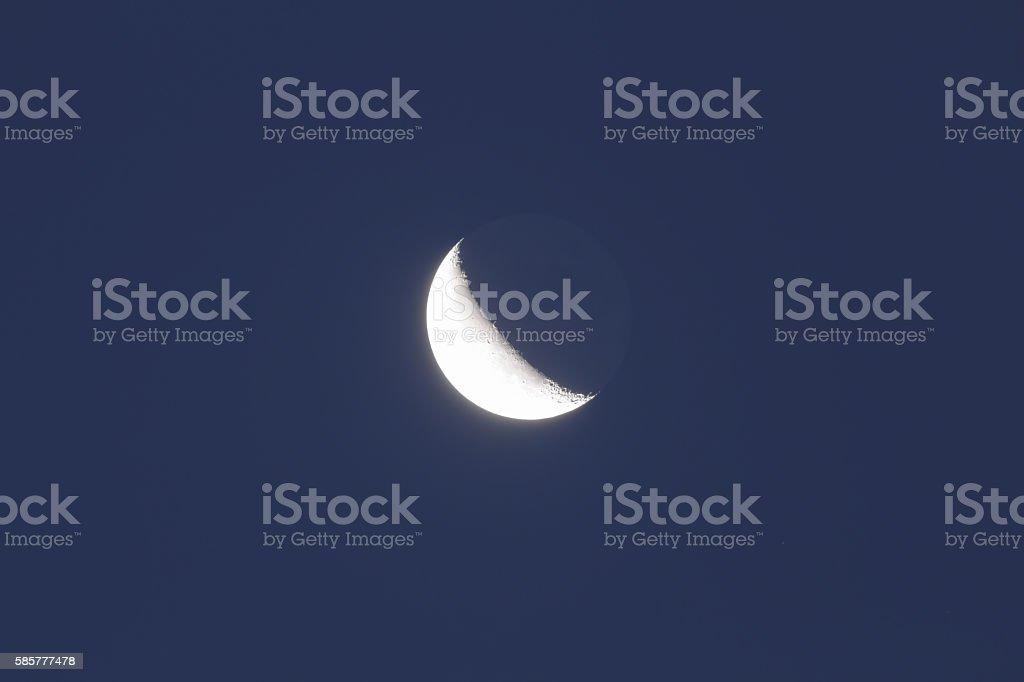 Moon on a dark-blue background stock photo