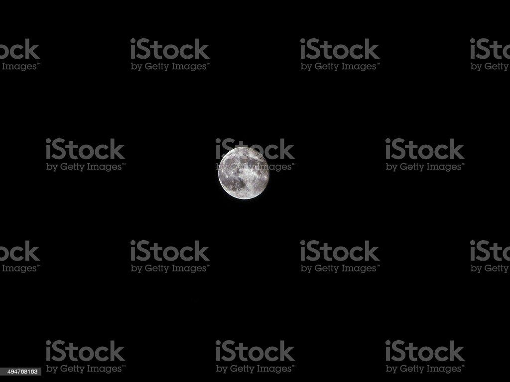 Vollmond am schwarzen Himmel, Mikro Foto Lizenzfreies stock-foto