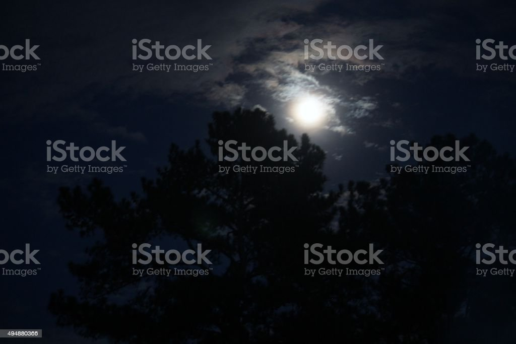 Moon on clouds over treeline stock photo