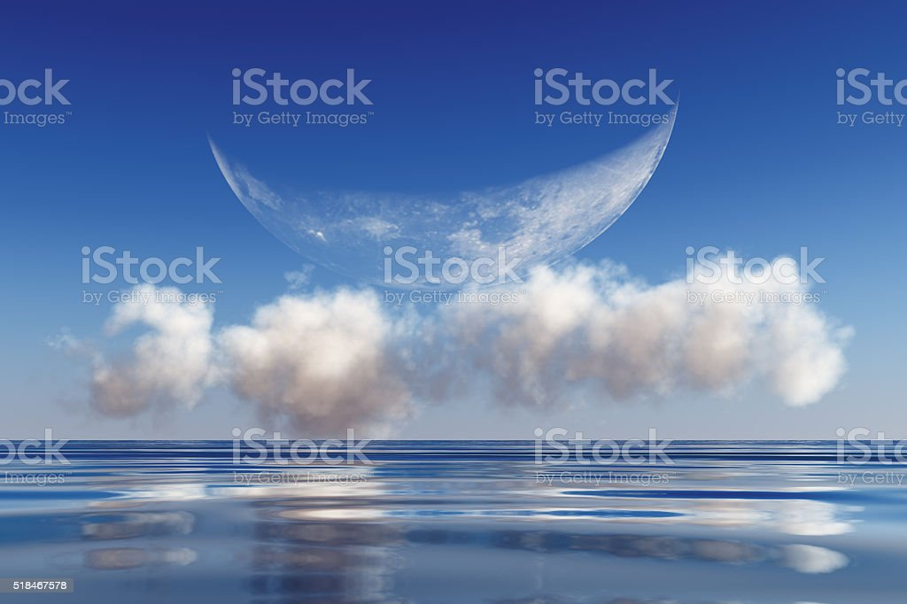 moon on clouds stock photo