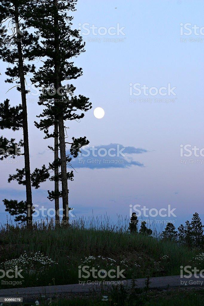 Moon on the mountain stock photo