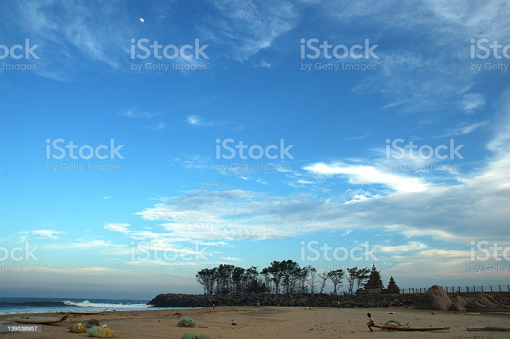 Moon over a templ royalty-free stock photo