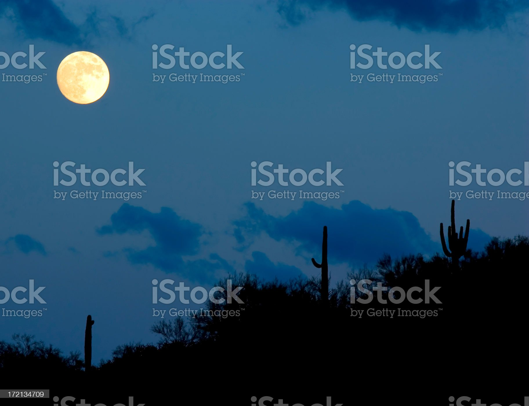 Moon Over Arizona royalty-free stock photo