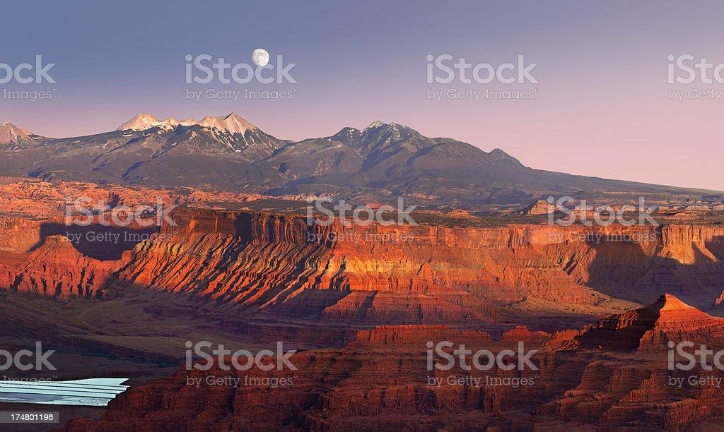 Moon Over Canyonlands National Park Panorama stock photo
