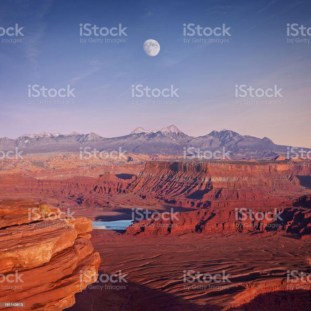 Moon Over Canyonlands National Park Panorama stock photo