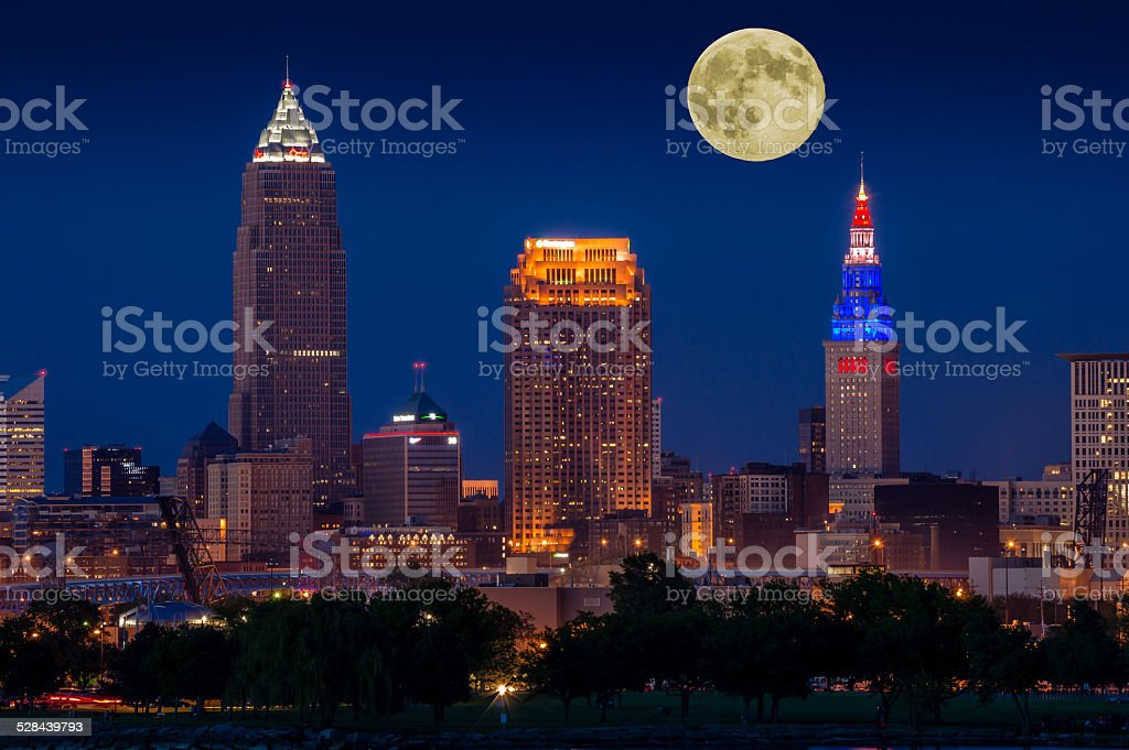 Moon over Cleveland stock photo