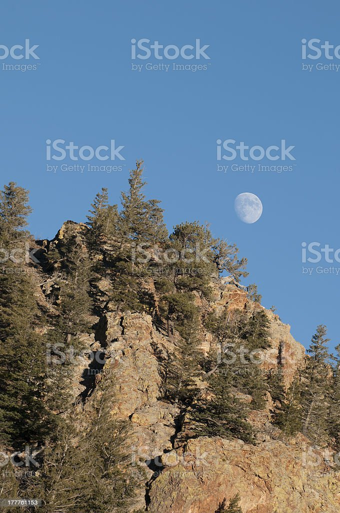 Moon over Crest of Red River Gorge in Late Afternoon stock photo