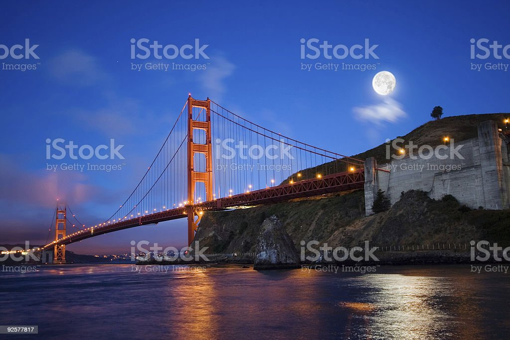Moon Over Golden Gate Bridge royalty-free stock photo
