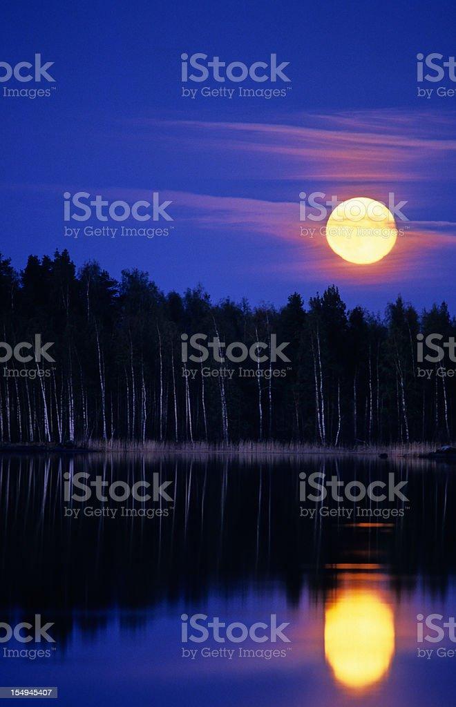 Moon over lake royalty-free stock photo